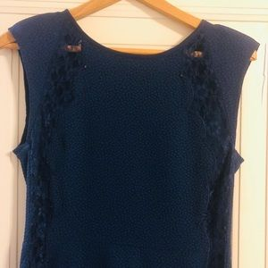 Fate Navy lightweight dress with lace detail